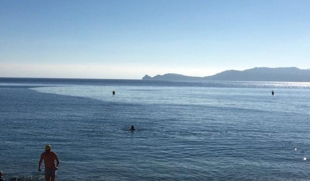 Swimming in the sea in Javea mid January